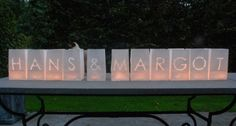 Bruiloft Candle bags: eigen namen
