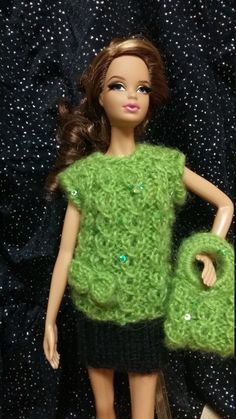 Sparkling Green Sweater set for 11 1/2 inch doll by busyasabeecrafts on Etsy