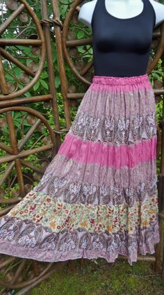 Lined bohemain 3 tiered broomstick skirt paisley by LamplightGifts, $20.75