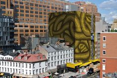 "~120-foot reproduction of ""Yellow Trees"" by Japanese artist Yayoi Kusama, will Cover a condo construction site in Manhattan..."