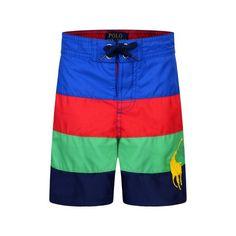 Ralph Lauren Boys Blue & Red Striped Swimming Trunks