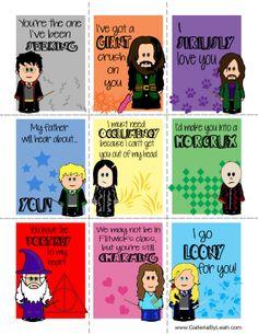 Harry Potter Valentines   Harry, Hagrid, Sirius Black, Malfoy, Snape, Voldemorte, Dumbledore, Hermione, Luna Lovegood   www.GalleriaByLeah.com