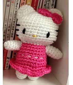 Crochet Kitty Hello Kitty in Pink Dress Doll Toy by DDs Crochet