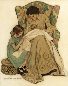 Jessie Willcox Smith (American illustrator) 1863 - 1935 The Sewing Lesson, ca. 1907 watercolour, gouache and charcoal on board 21 x 17 in.) signed Jessie Willcox Smith, l. Jessie Willcox Smith, Art Du Fil, Sewing Lessons, Sewing Art, Oil Painting Reproductions, Mother And Child, Vintage Pictures, Vintage Images, Vintage Sewing