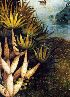 langoaurelian:    ~ Hieronymus Bosch  nataliakoptseva:    1480-1490 The Garden of Earthly Delights, Paradise, detail foliage trees