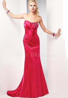 Taffeta A line Strapless Asymmetric Waist Floor Length Sleeveless Prom Gowns