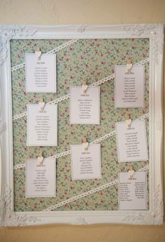 Wedding seating plan board