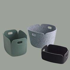 Muuto Restore basket, Restore tray en Restore round storage basket.