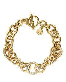 Michael Kors Michael Kors Pave Link Bracelet, Golden