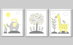 Grey and Yellow - Elephant - Giraffe - Birds and Tree - Baby Nursery or Kids Room. via Etsy.