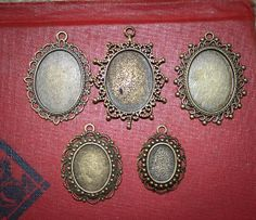 5 Vintage Oval Pendant settings Multi size  Antique Bronze-Perfect for Wedding Bouquet Charms on Etsy, $6.95