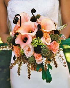 The bride's bouquet was a mix of peach calla lilies, pink roses, fiddlehead ferns, scabiosa pods and more, by Branch Out Floral and Event Design in San Francisco.