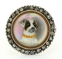 Essex Crystal Terrier & Rose Cut Diamond Ring Circa 1800's