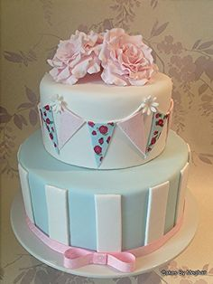 Blue & White Stripes with Floral Bunting and Topper