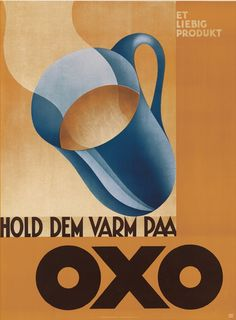 Advertising by Tage Werner (1902-1983), 1930, Hold Dem Varm Paa Oxo. (Danish)