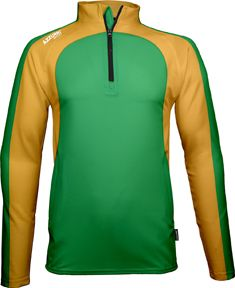 Leisure Top, 1/4 Zip, Barrow, 2 Colour Combination - Emerald & Gold