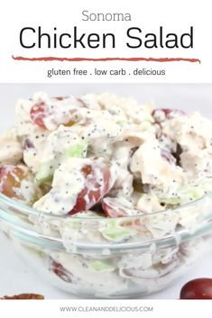 Scroll down to watch the step-by-step video. This version of chicken salad is the most popular chicken salad sold at Whole Foods to date. Healthy Summer Recipes, Healthy Lunches, Healthy Salad Recipes, Low Carb Recipes, Whole Food Recipes, Sonoma Chicken Salad, Chicken Salad Recipes, Clean And Delicious, Main Dish Salads