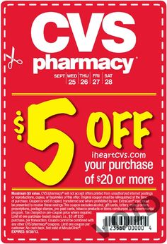 i heart cvs: $5 off $20 in various newspapers 09/25  http://www.iheartcvs.com/2013/09/5-off-20-in-various-newspapers-0925.html