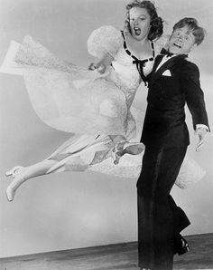 """Judy Garland and Mickey Rooney dancing in a publicity shot for """"Strike Up the Band"""""""