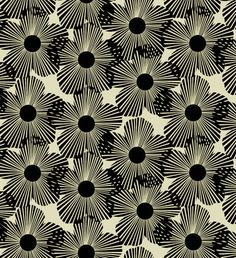 STYL MOD Blossoms in Black  7992 Cotton Fabric by by MoonaFabrics, $9.95