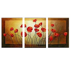 Hand-painted Abstract Oil Painting with Stretched Frame - Set of 3 – US$ 124.99