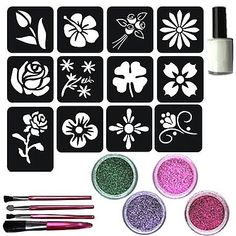 Henna Tattoo Stencils, Henna Ink, Glitter Tattoo Set, Face Paint Party, Cricut Stencils, Shape Pictures, Silhouette Art, Pattern Art, Art Patterns