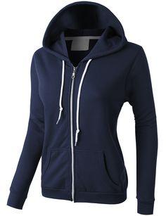 LE3NO PREMIUM Womens Lightweight Vintage Zip Up Sweatshirt Hoodie