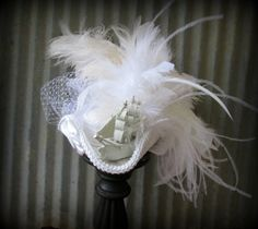 Wedding Pirate Ship Hat White Tricorn Marie by ChikiBird on Etsy