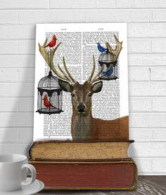 Beautiful birds find a graceful new home on the deer antlers. This is a print of an original painting and mixed media piece by FabFunky.  --------------------------------------------- Initial standard shipping on this item is free worldwide ---------------------------------------------  FabFunky antiquarian book prints feature the illustrations of Kelly Stevens-Mclaughlan, an established artist living and working on the south coast of the UK. Kelly's images are printed directly onto the…