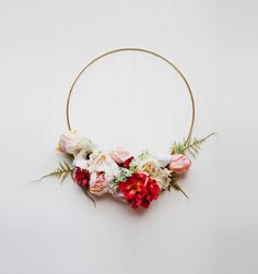 This wreath is part of the Adore series and features soft garden florals, including peonies & garden rose varieties, atop delicate greenery on a gold hoop. It is whimsical, and would be beautiful in nursery or as a chic decorative piece! This item is one of a kind, and is the item as-shown. I post wreaths as I create them, and each one is unique! I photograph my items in natural light and some slight variations may occur between your computer screen settings and the products real life col...