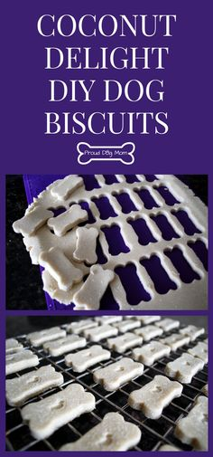 Coconut Delight Gluten-Free Dog Biscuit Recipe - Proud Dog Mom Puppy Treats, Diy Dog Treats, Homemade Dog Treats, Healthy Dog Treats, Dog Biscuit Recipes, Dog Treat Recipes, Dog Food Recipes, Food Dog, Dog Cookies