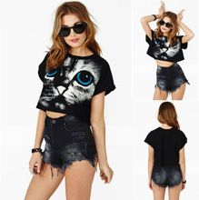 hot 2015 new arrival Women Ladie Fashion Print Cat Summer Shirt Loose Crop Tops Blouses Tank