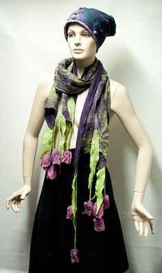 wet felted shawl with tulips by WoolWorldByMarta on Etsy