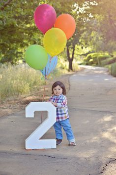 Happy birthday! Two year old boy child kid balloons 2 pose portrait - rock steady photography
