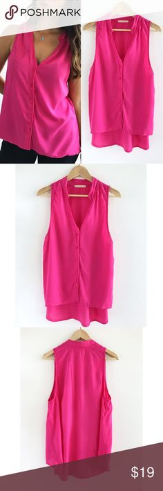 "Alternative Pink Button Down Top Alternative Pink Button Down Top! Super comfortable and lightweight. 100% rayon. Excellent condition. Looks great with skinny jeans. Chest-39"" front length-24.5"" Back length-30"" size large. Alternative Tops Blouses"