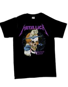Metallica Command Justice Mens T-Shirt - This mens Metallica t-shirt in black, features the image of a skull with a fist protruding from it, printed on its front, with a purple Metallica logo above
