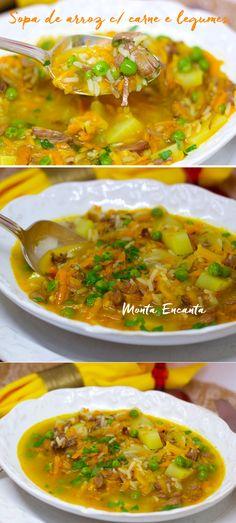 Sopa de Arroz com Carne e Legumes