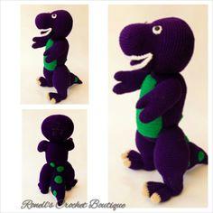 Crochet Dinosaur Patterns, Crochet Ideas, Crochet Patterns, Crochet Toys, Knit Crochet, Barney The Dinosaurs, Pattern Library, Dinosaur Stuffed Animal, Projects To Try