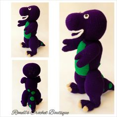 Crochet Barney the Dinosaur https://www.facebook.com/crochetboutiqe   http://www.ravelry.com/patterns/library/berney-the-rex