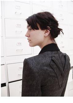Detail: jacket (wool, silk-screen print, cotton)