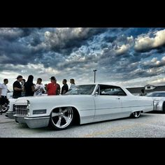 Slammed white caddy