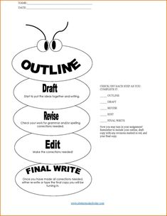 paragraph essay outline worksheet compare contrast chart  updated kid s essay outline form writing process checklist
