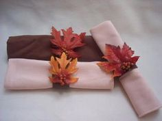 I always like napkin rings, but they can be so expensive! Here's a cheap (and easy!) idea for a fall leaf napkin ring.