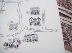 sketches on the invitation of the places where the wedding events will be. I love it, makes the map so much cooler.