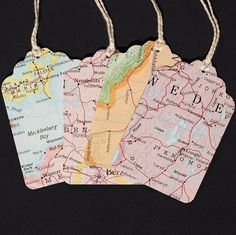 vintage gift tags- 15 recycled world atlas map tags. $6.00, via Etsy.