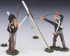 Napoleonic British Army NAP002B Royal Horse Artillery RHA Rocket Crew with Wounded Soldier - Made by Thomas Gunn Military Miniatures and Models. Factory made, hand assembled, painted and boxed in a padded decorative box. Excellent gift for the enthusiast.