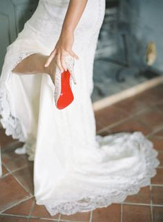 fun color pop in an all white wedding.
