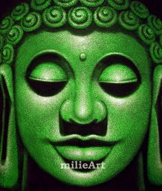 Lukisan Yogyakarta by milieArt: Lukisan Minimalis Buddha Hijau MD-035