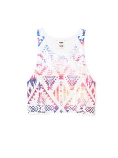 PINK Bling Muscle Tank in White Rainbow $32.95  #AztecPrint #Sequins