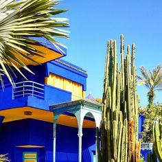Little piece of paradise in crazy Marrakech Blue Garden, Marrakech, Morocco, Opera House, Paradise, Building, Travel, Viajes, Buildings